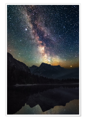 Póster Premium Milky Way over the mountains