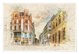 Póster Premium Leipzig city center Peterstraße