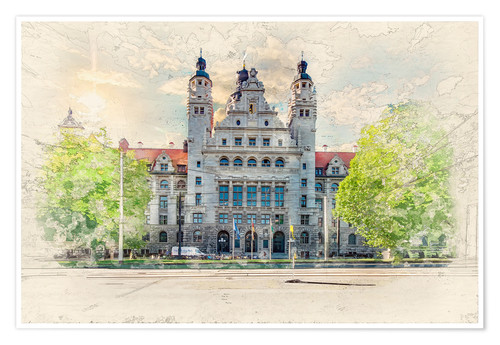 Póster Premium Leipzig New Town Hall