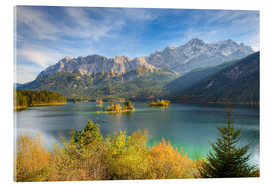 Quadro em acrílico  Autumn at the Eibsee with a view to the Zugspitze - Michael Valjak