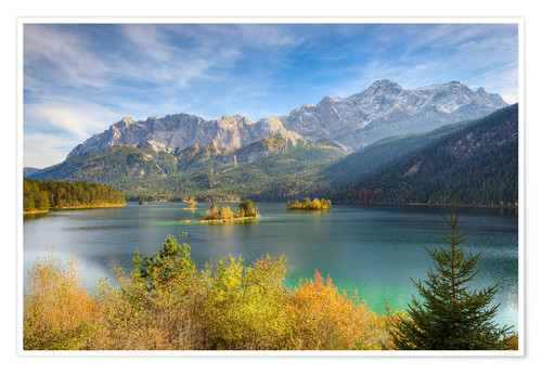 Póster Premium Autumn at the Eibsee with a view to the Zugspitze