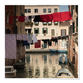 Póster Premium Washing lines in Venice, Italy