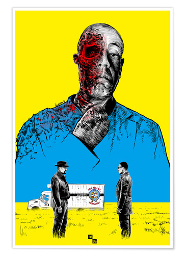 Póster Premium Breaking Bad Gus Fring death whit blood