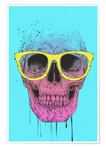 Póster Premium Pop art skull with glasses