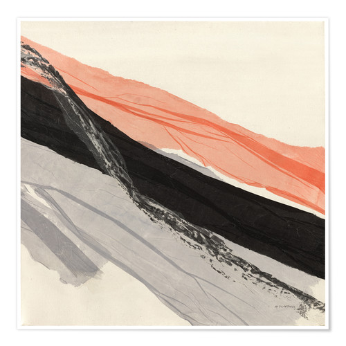 Póster Premium Peach and Black abstract