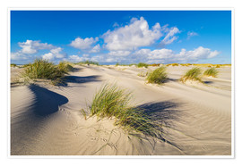 Póster Premium Landscape with dunes on the island Amrum