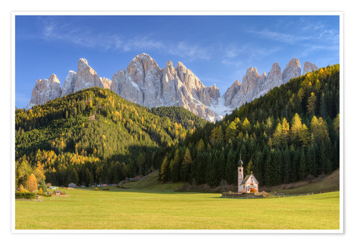 Póster Premium Church in Val di Funes in South Tyrol
