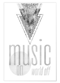 Póster Premium GRAPHIC ART SILVER Music on World Off
