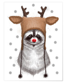 Póster Premium Raccoon in Deer Hat