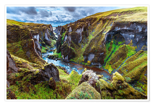 Póster Premium Incredible volcanic Canyon on Iceland