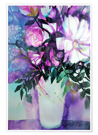 Póster Premium White peonies with lilac