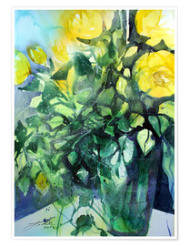 Póster Premium Yellow roses with ivy in vase