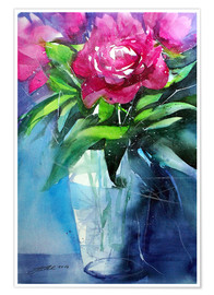 Póster Premium Red peonies in vase
