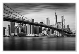 Póster Premium New York City - Brooklyn Bridge and Skyline