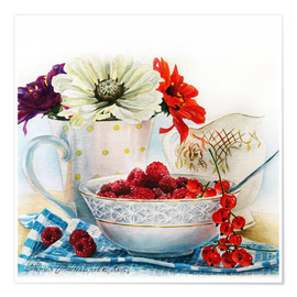 Póster Premium Flowers and berries watercolor painting