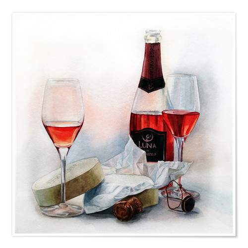 Póster Premium Wine and cheese watercolor painting