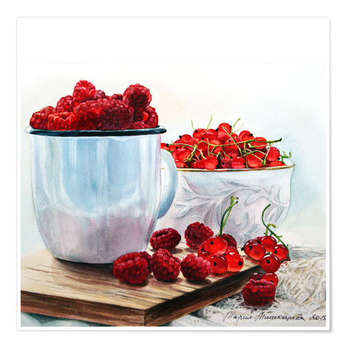 Póster Premium Red berries watercolor painting