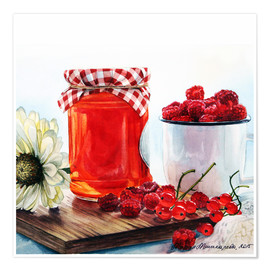 Póster Premium Raspberry jam watercolor painting