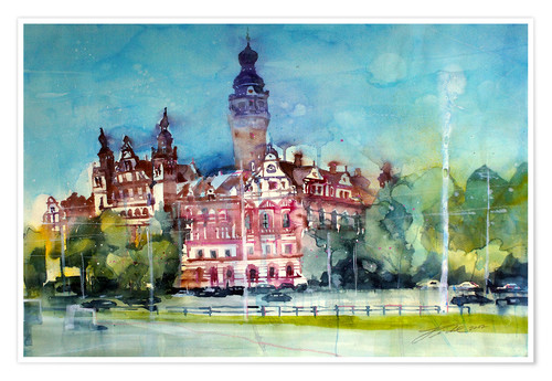 Póster Premium Leipzig, New Town Hall