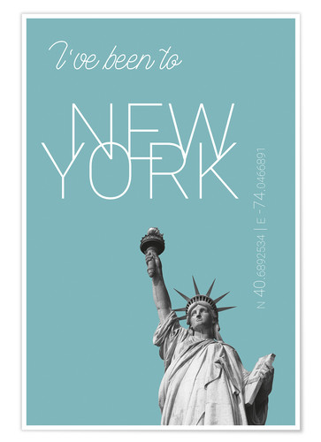 Póster Premium Popart New York Statue of Liberty I have been to Color: Light blue
