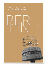 Póster Premium Popart Berlin World Clock I have been to Color: Pale gold