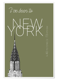 Póster Premium Popart New York Chrysler Building I have been to Color: calliste green