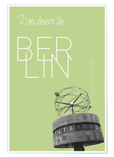 Póster Premium Popart Berlin World Clock I have been to Color: Salad
