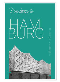 Póster Premium Popart Hamburg Elbphilharmonie I have been to Color: Arcadia