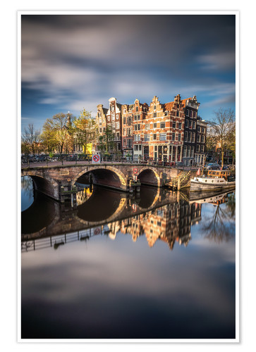 Póster Premium Amsterdam during morning light