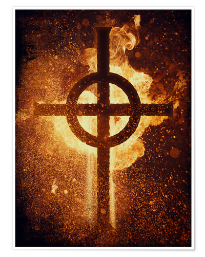 Póster Premium burning cross