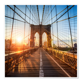 Póster Premium  Brooklyn Bridge in New York City - Jan Christopher Becke