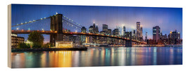 Quadro de madeira  Brooklyn Bridge panorama in New York City, USA - Jan Christopher Becke