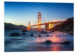 Quadro em PVC  Golden Gate Bridge at sunset in San Francisco, USA - Jan Christopher Becke