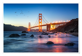 Póster Premium  Golden Gate Bridge at sunset in San Francisco, USA - Jan Christopher Becke