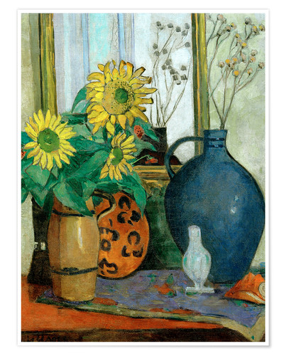 Póster Premium Sunflowers with Matisse shell