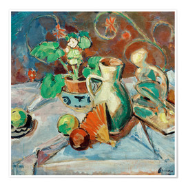 Póster Premium Still life with a white pitcher, plastic, fans and oranges