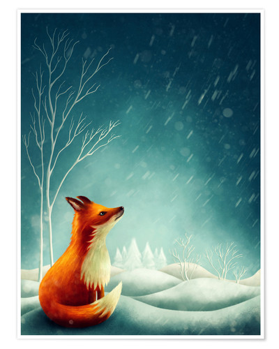 Póster Premium Fox in winter
