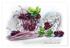 Póster Premium Watercolor Cherry bowl