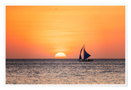 Póster Premium Sailboat in the sunset