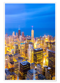 Póster Premium  Chicago City at night