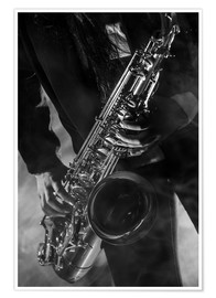 Póster Premium  Close up of a saxophonist