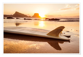 Póster Premium  Surfboards at the beach