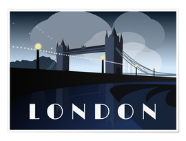 Póster Premium  London Tower Bridge Art Deco style - Alex Saberi