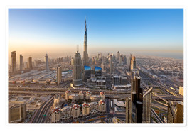 Póster Premium  Sunrise at Dubai City - Dieter Meyrl