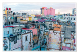 Póster Premium  Authentic view of a street of Old Havana
