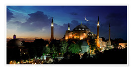 Póster Premium  View of Hagia Sophia after sunset
