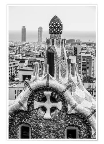 Póster Premium Impressive architecture and mosaic art at Park Guell