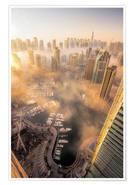 Póster Premium  Dubai Marina covered in early morning fog