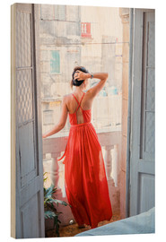 Quadro de madeira  Young attractive woman in red dress