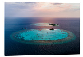 Quadro em acrílico  Islands at sunset in the Maldives - Matteo Colombo